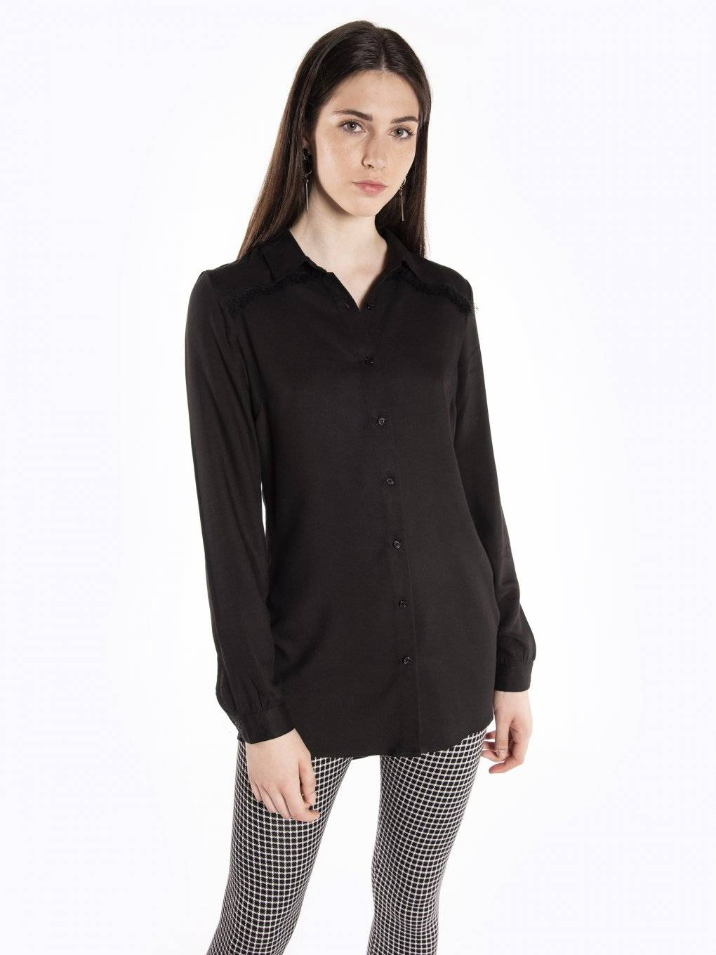 Viscose blouse with fringe detail