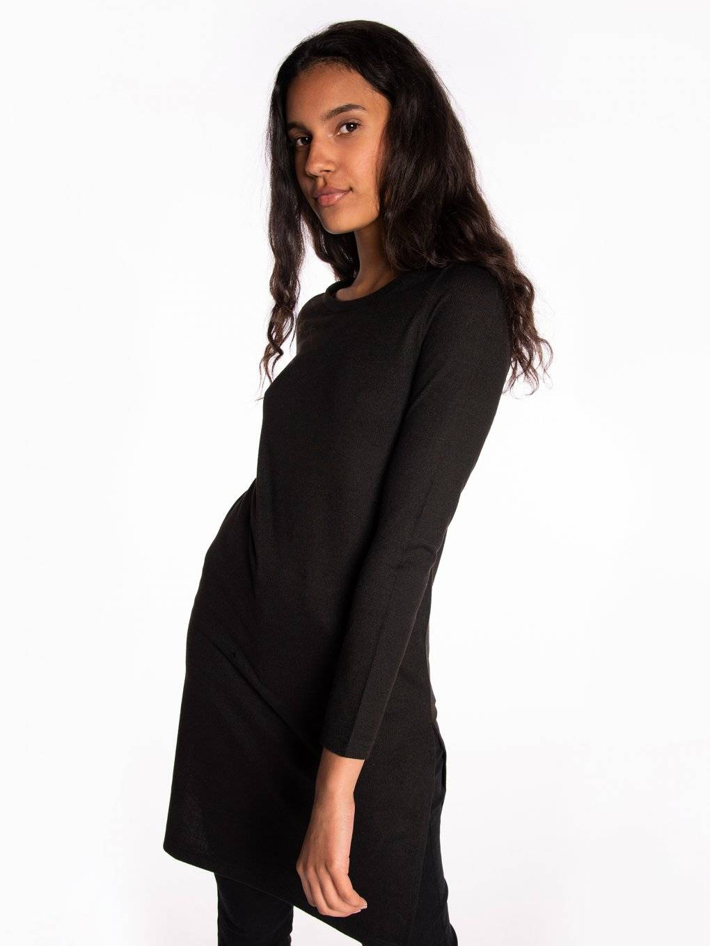 Longline top with side slits