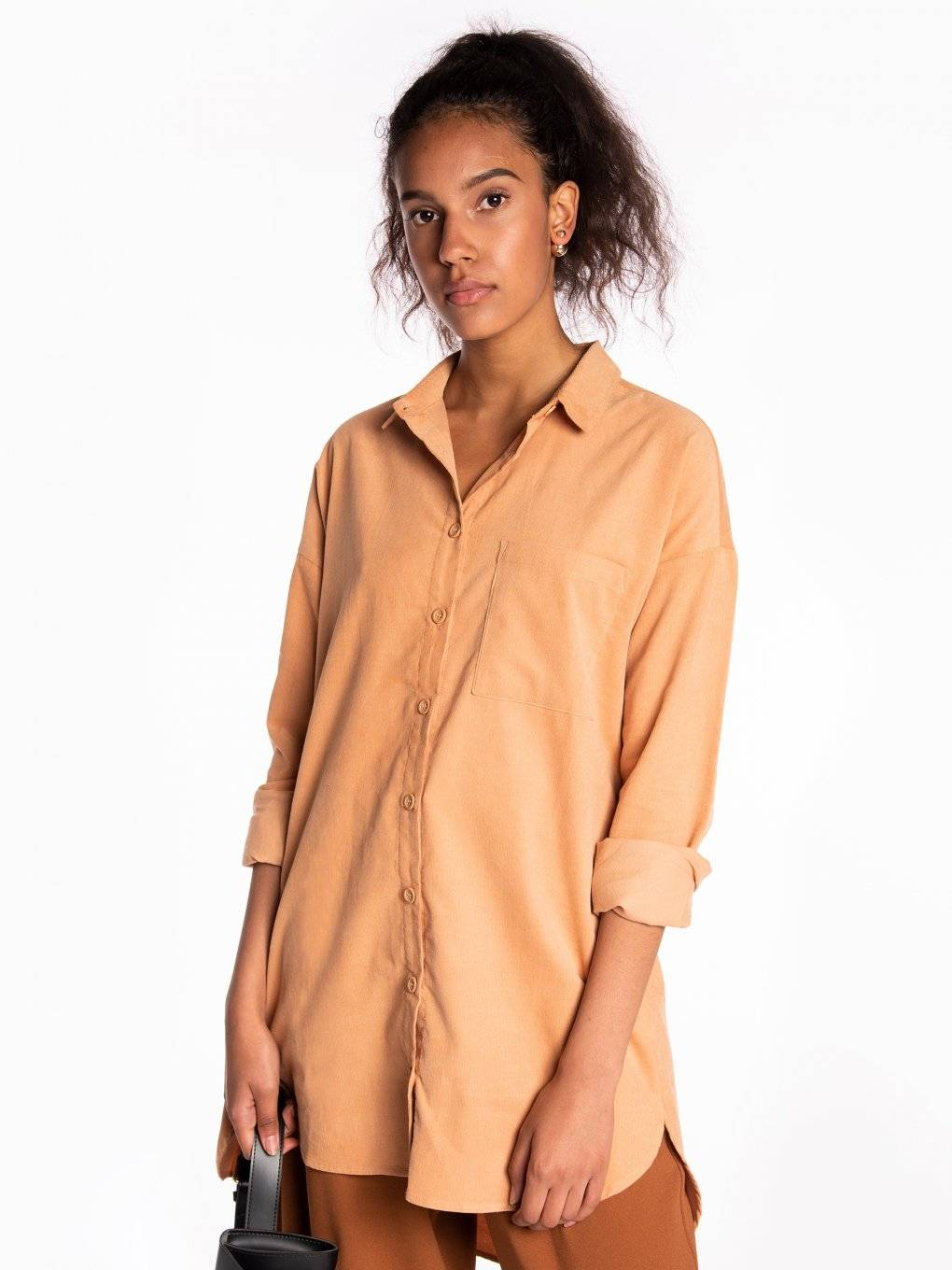 Longline corduroy blouse with chest pocket