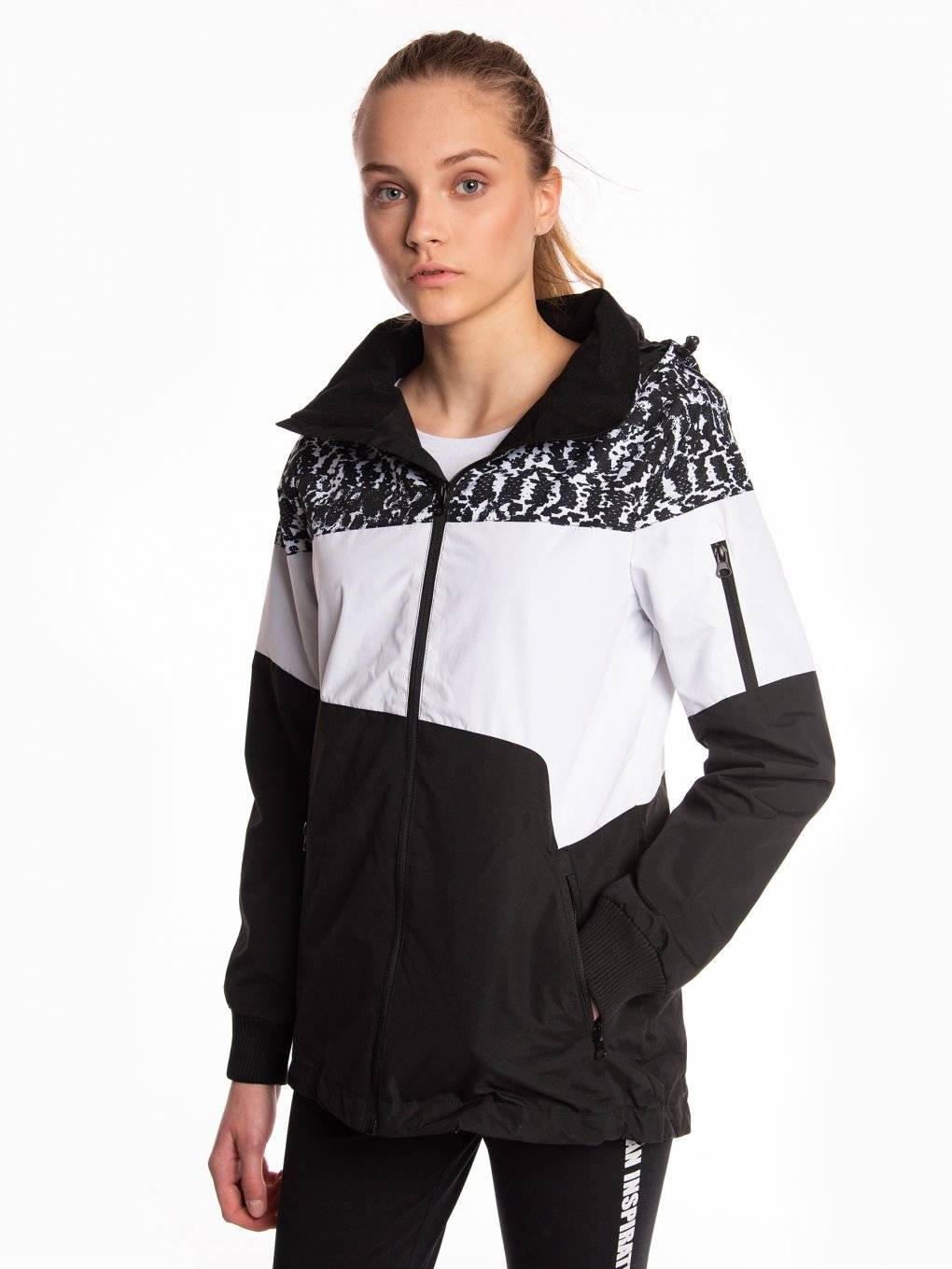 Colour block jacket with removable hood