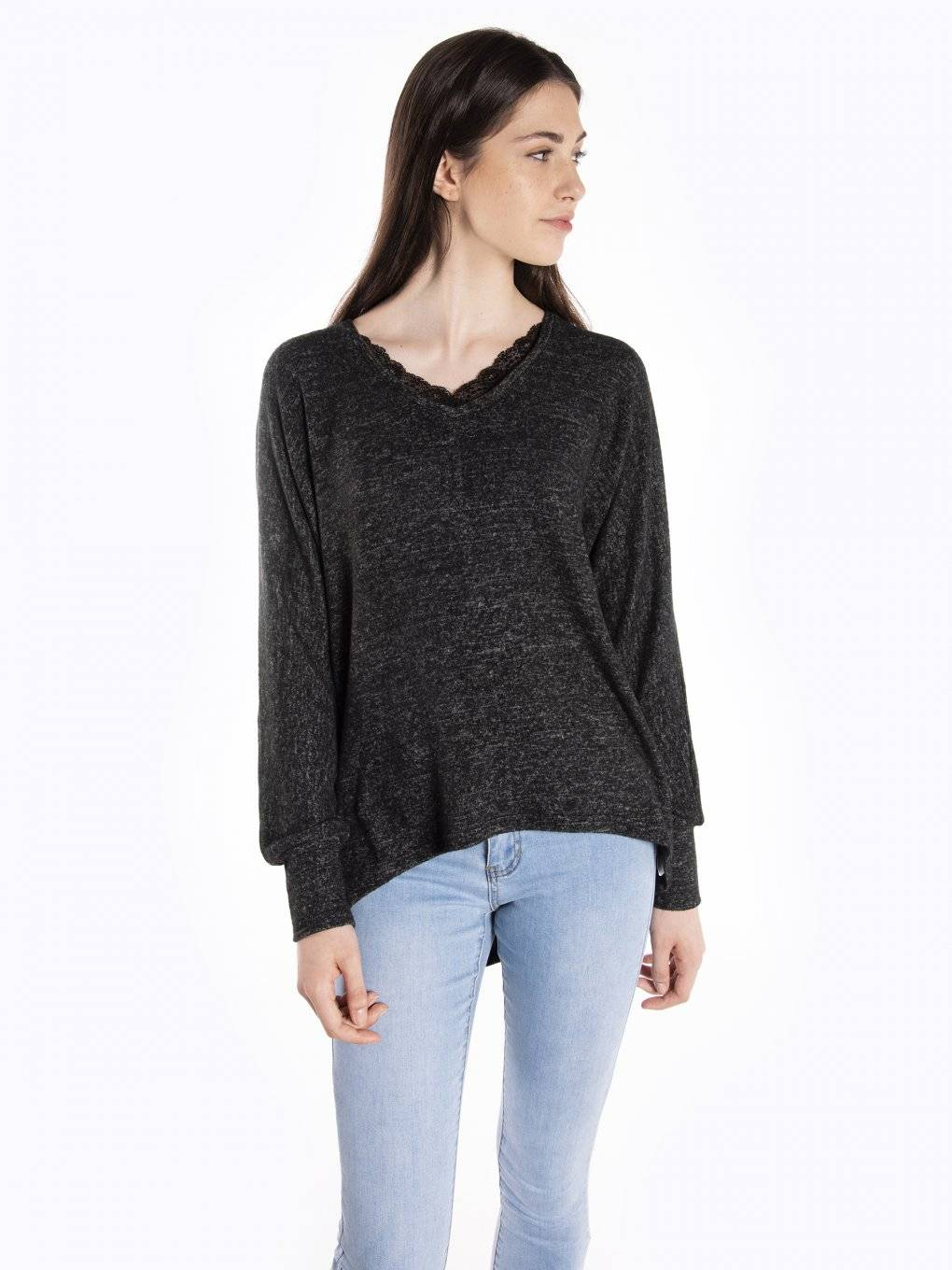Marled pullover with lace
