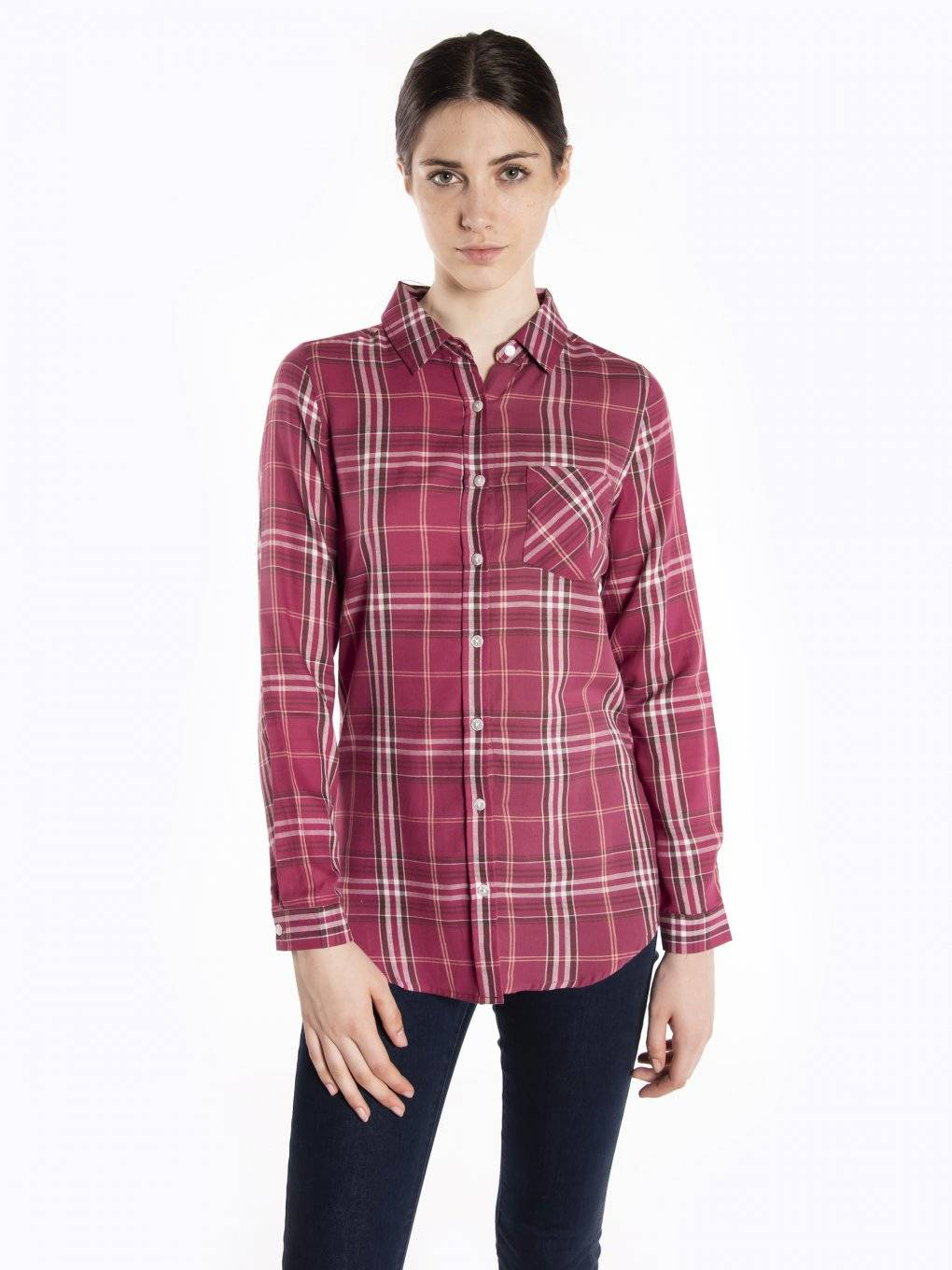 Plaid cotton shirt with message print on back