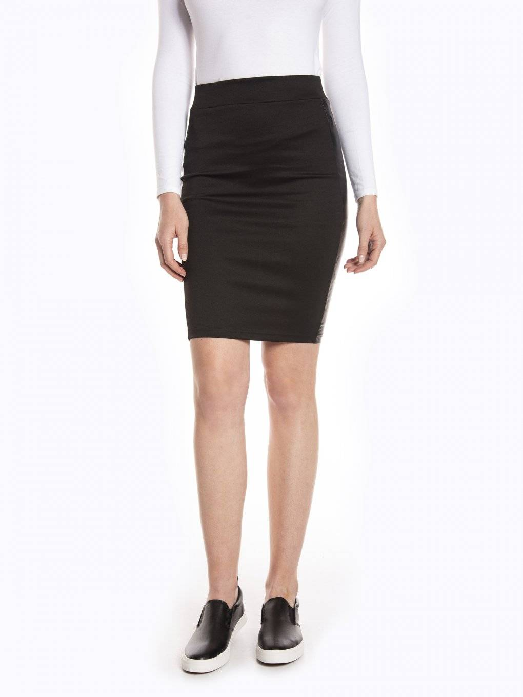 Bodycon skirt with faux leather side panels