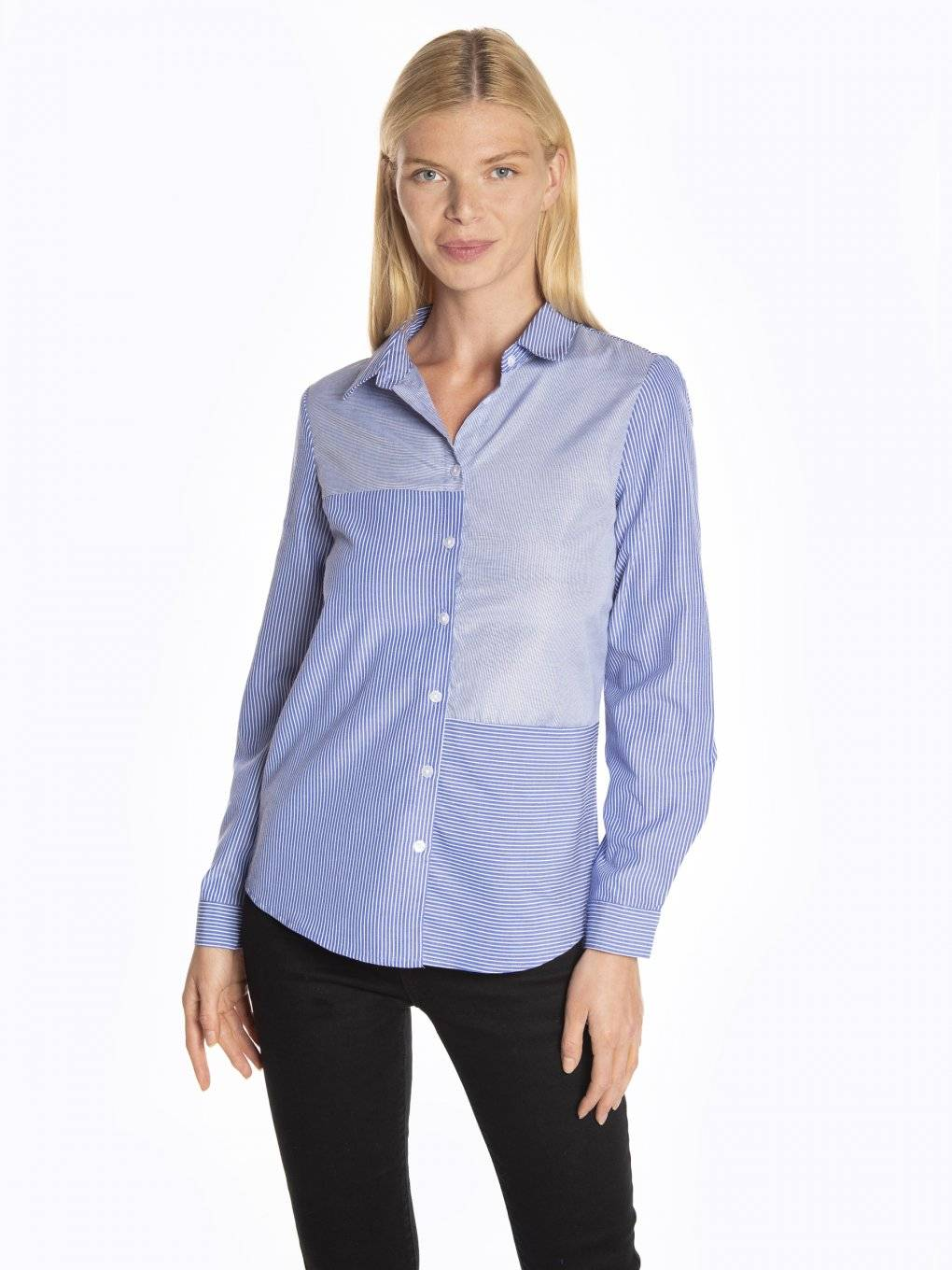 Striped paneled cotton shirt
