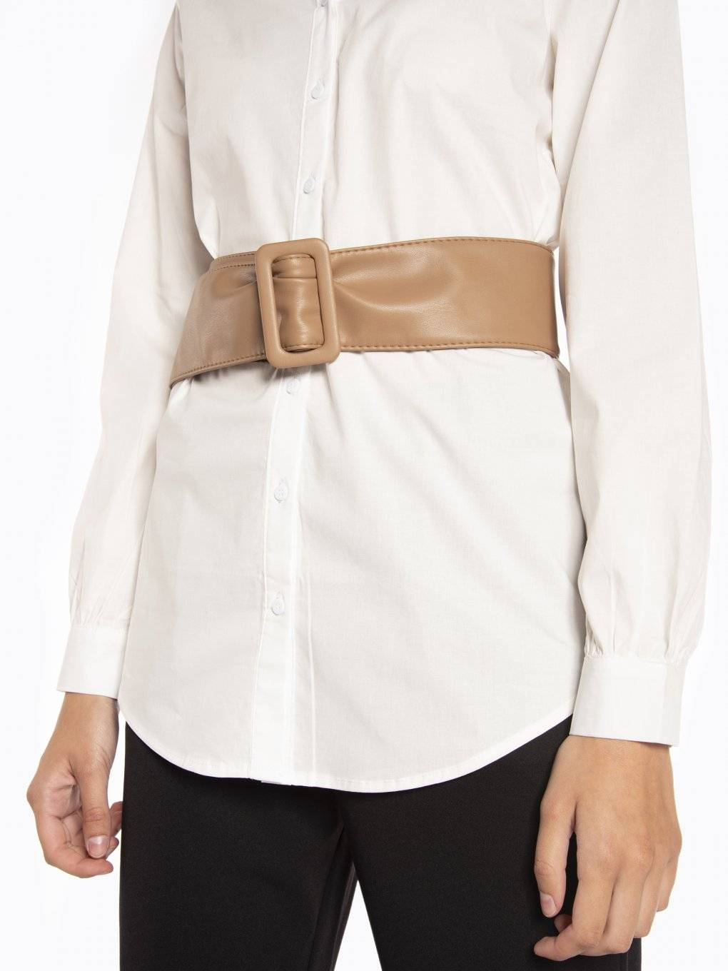 Faux leather wide waist belt