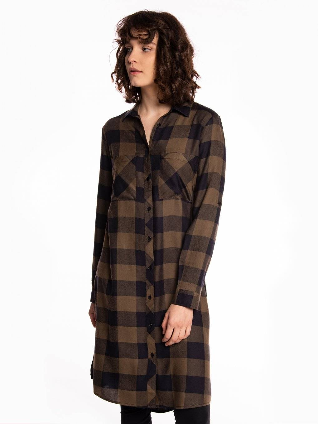 Longline plaid viscose shirt