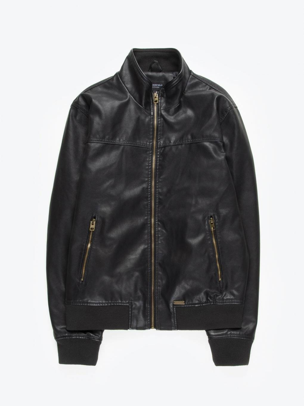 Faux leather bomber jacket with stand-up collar