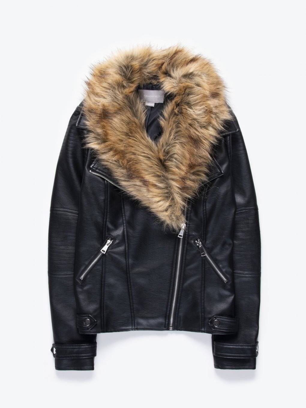 Faux leather biker jacket with removable faux fur