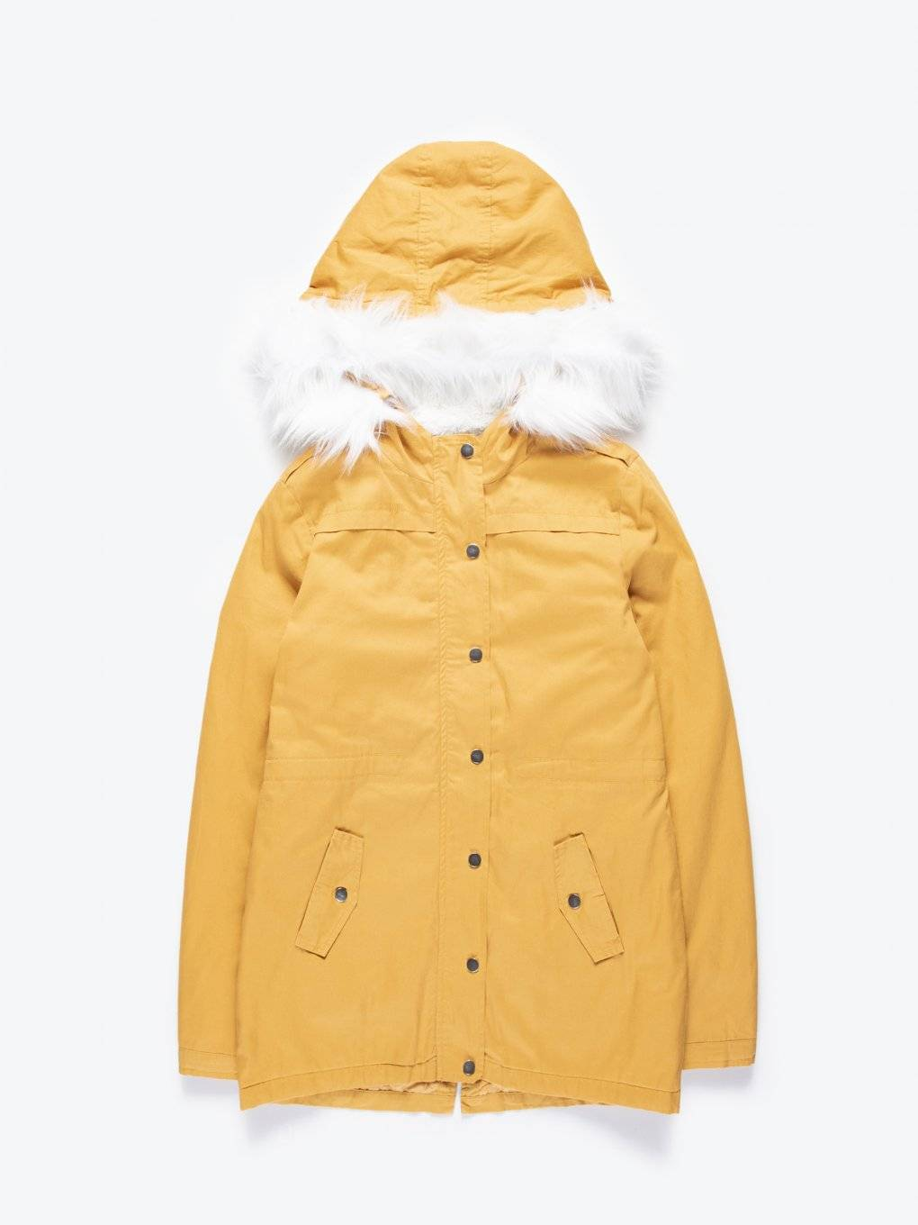 Pile lined cotton parka with removable faux fur