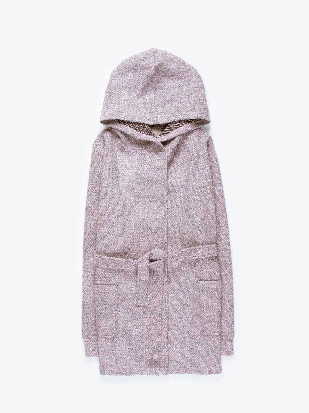 Marled hooded coat with belt