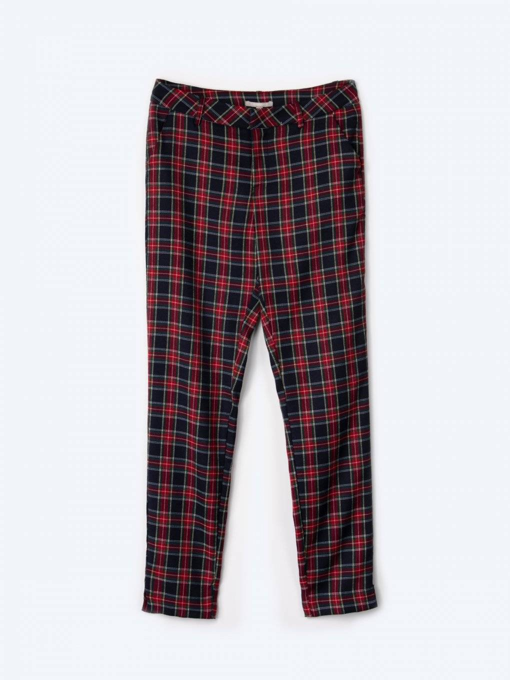 Plaid cigarette fit trousers