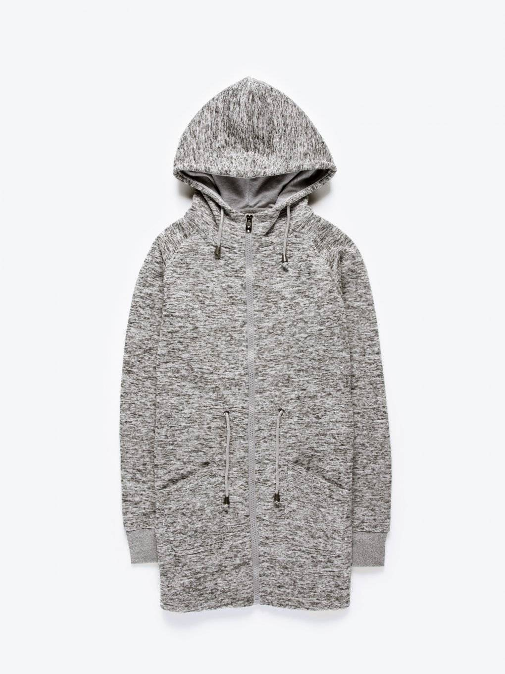 Marled parka with hood