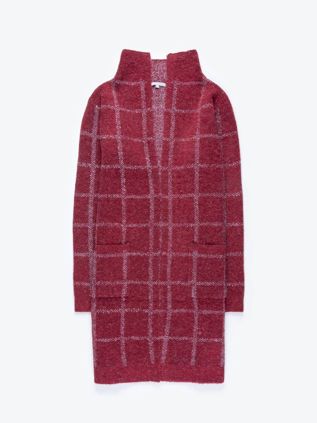 Plaid longline cardigan with pockets