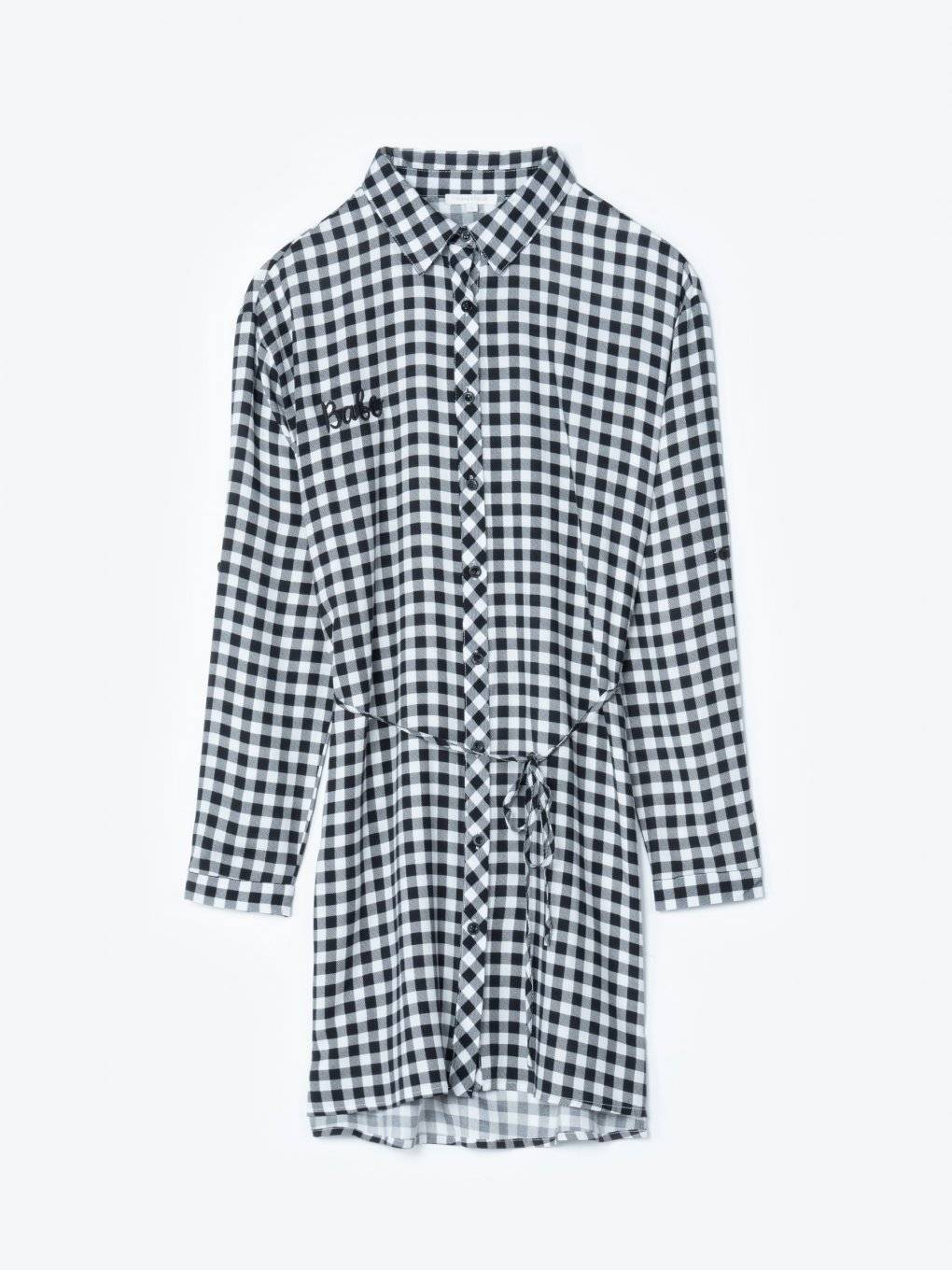 Longline gingham shirt with embroidery