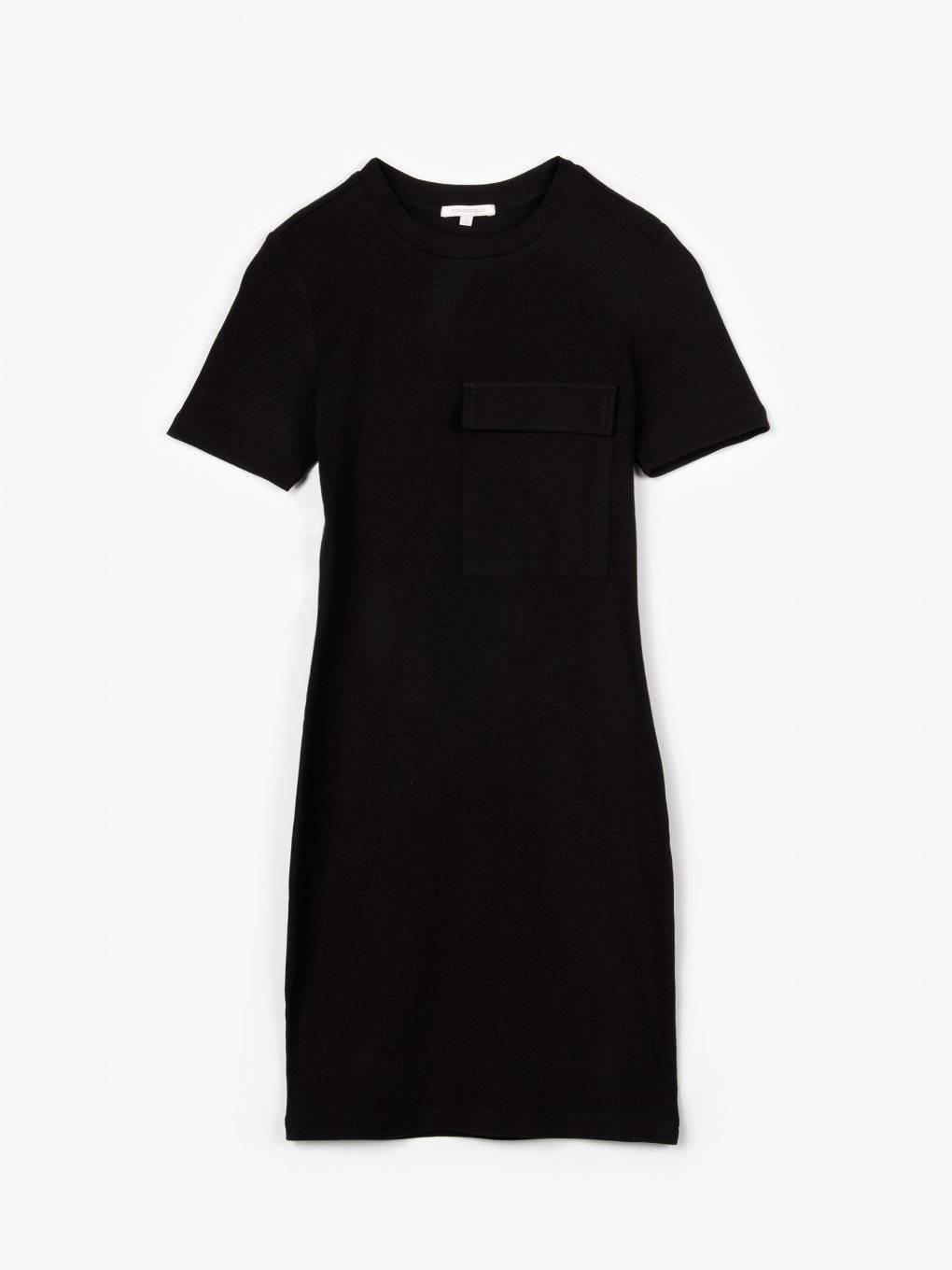 Plain bodycon dress with oversized chest pocket