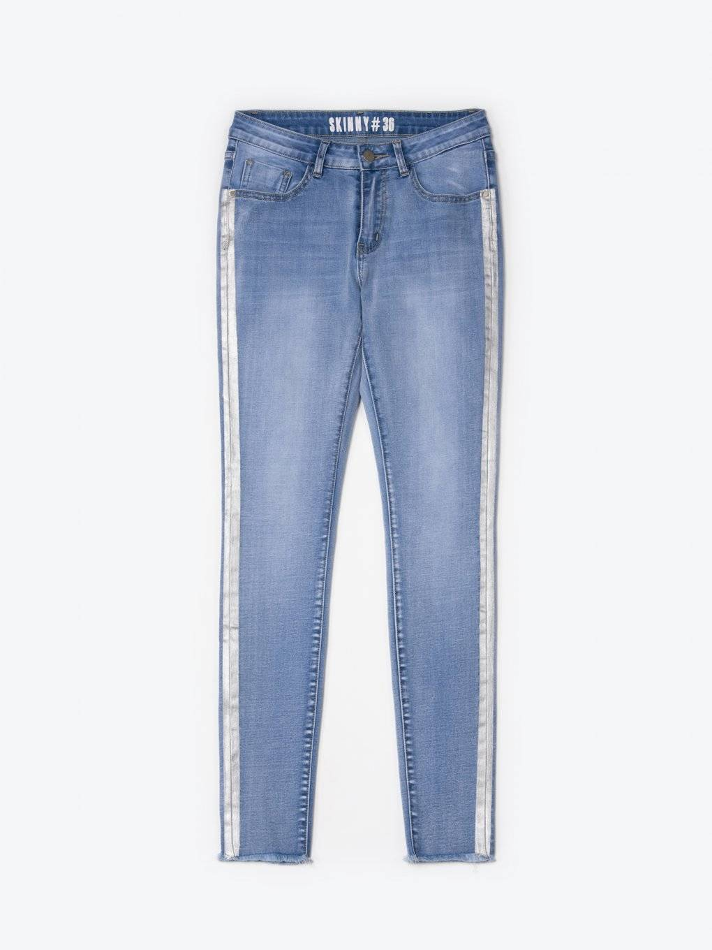 Skinny jeans with metallic side print