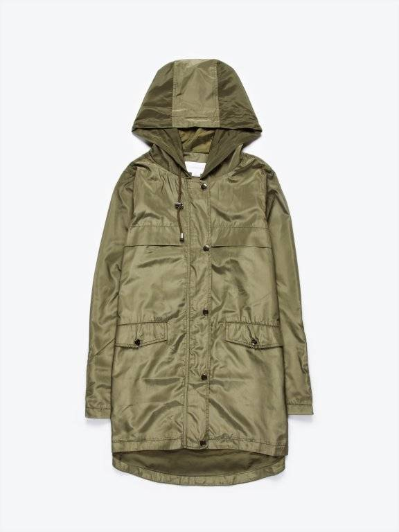 Parka with contrast zippers