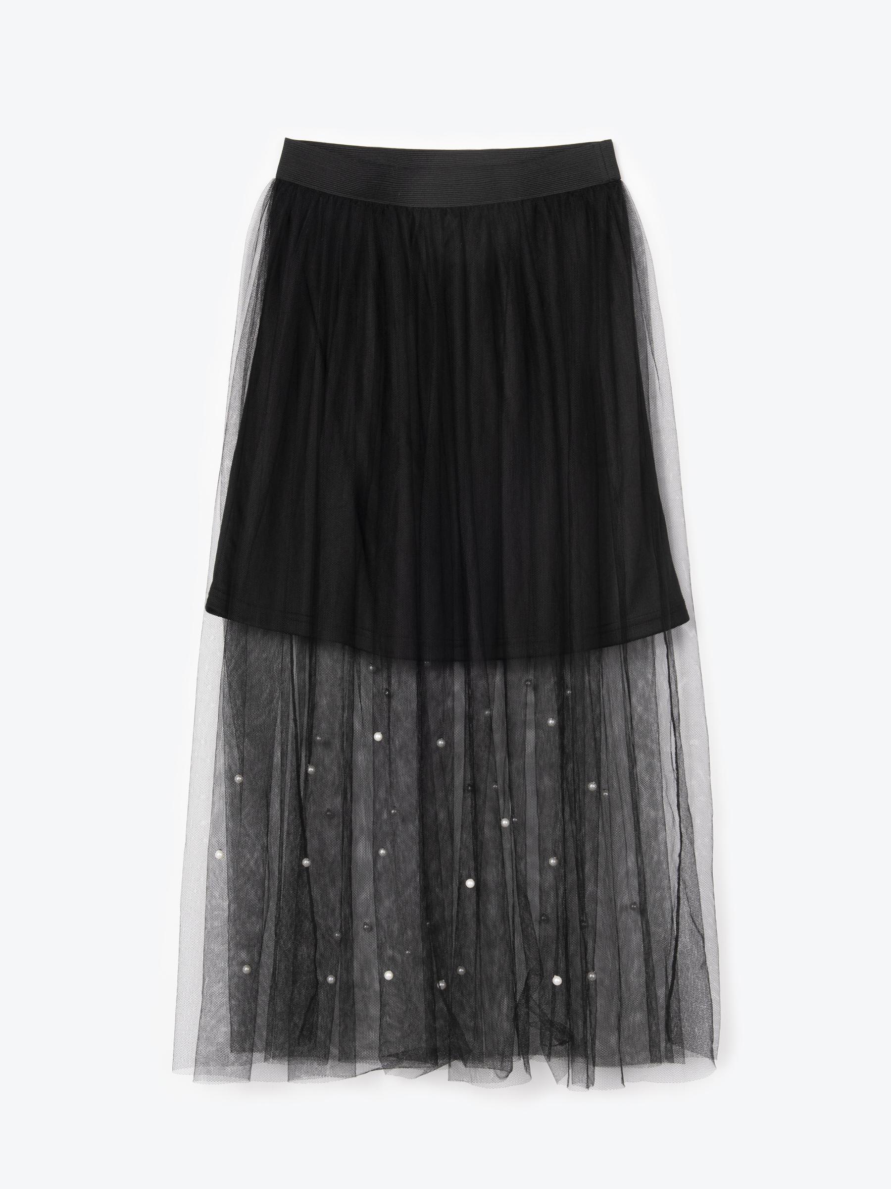 GATE Dlouhá sukně s perlami