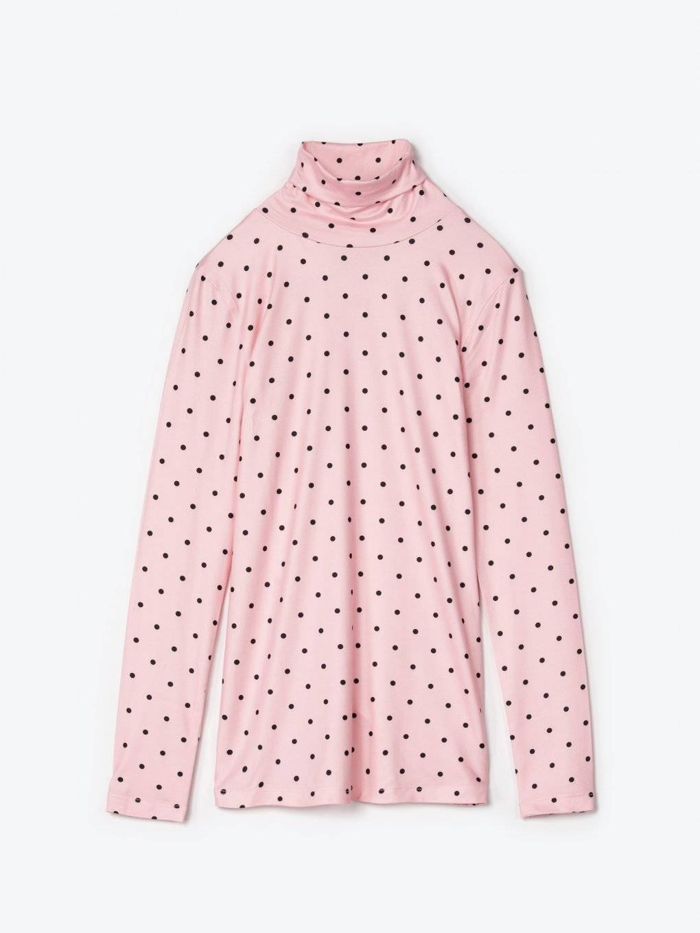 Polka dot print turtleneck t-shirt