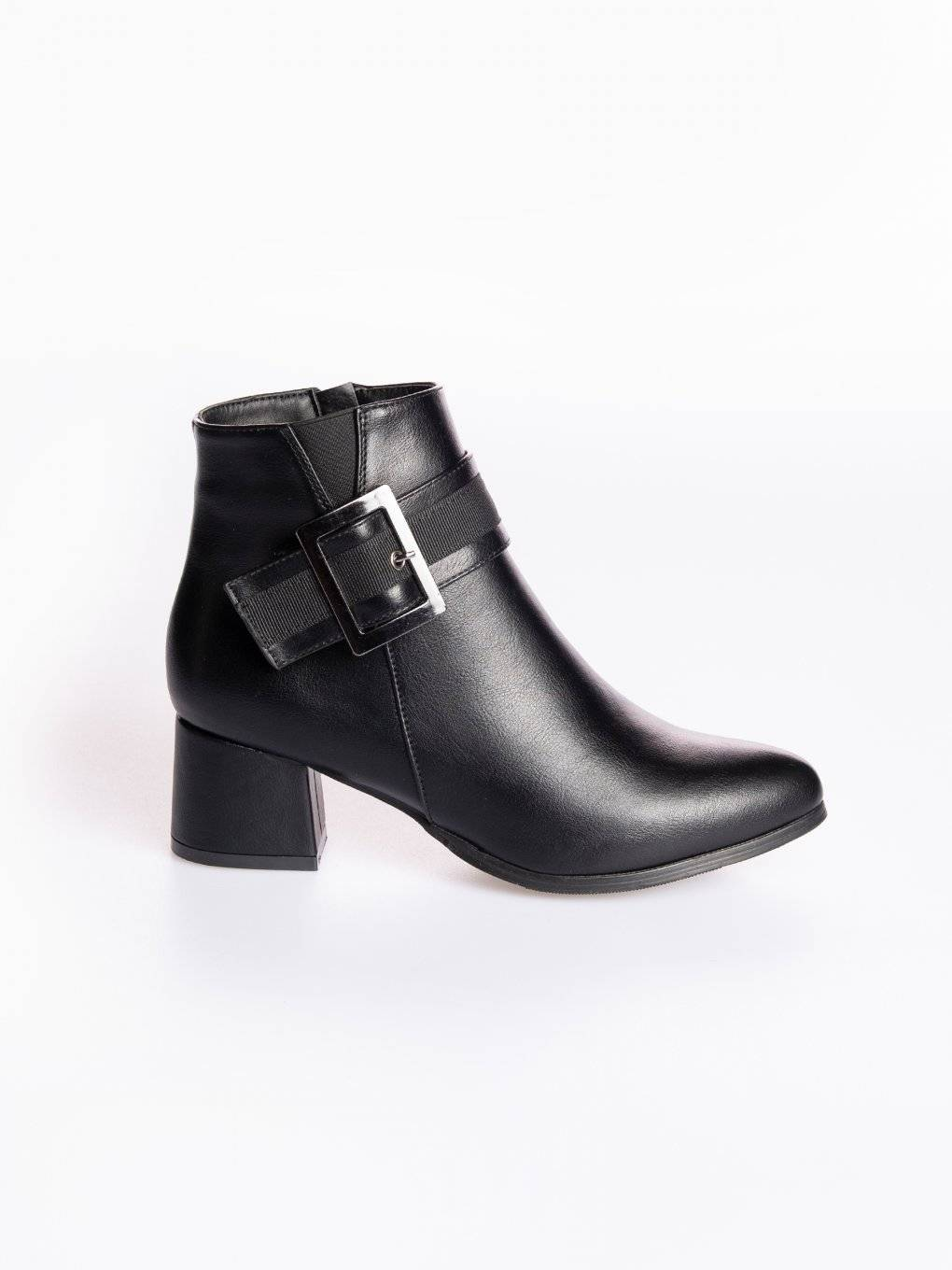 Block heeled ankle boots with buckle detail