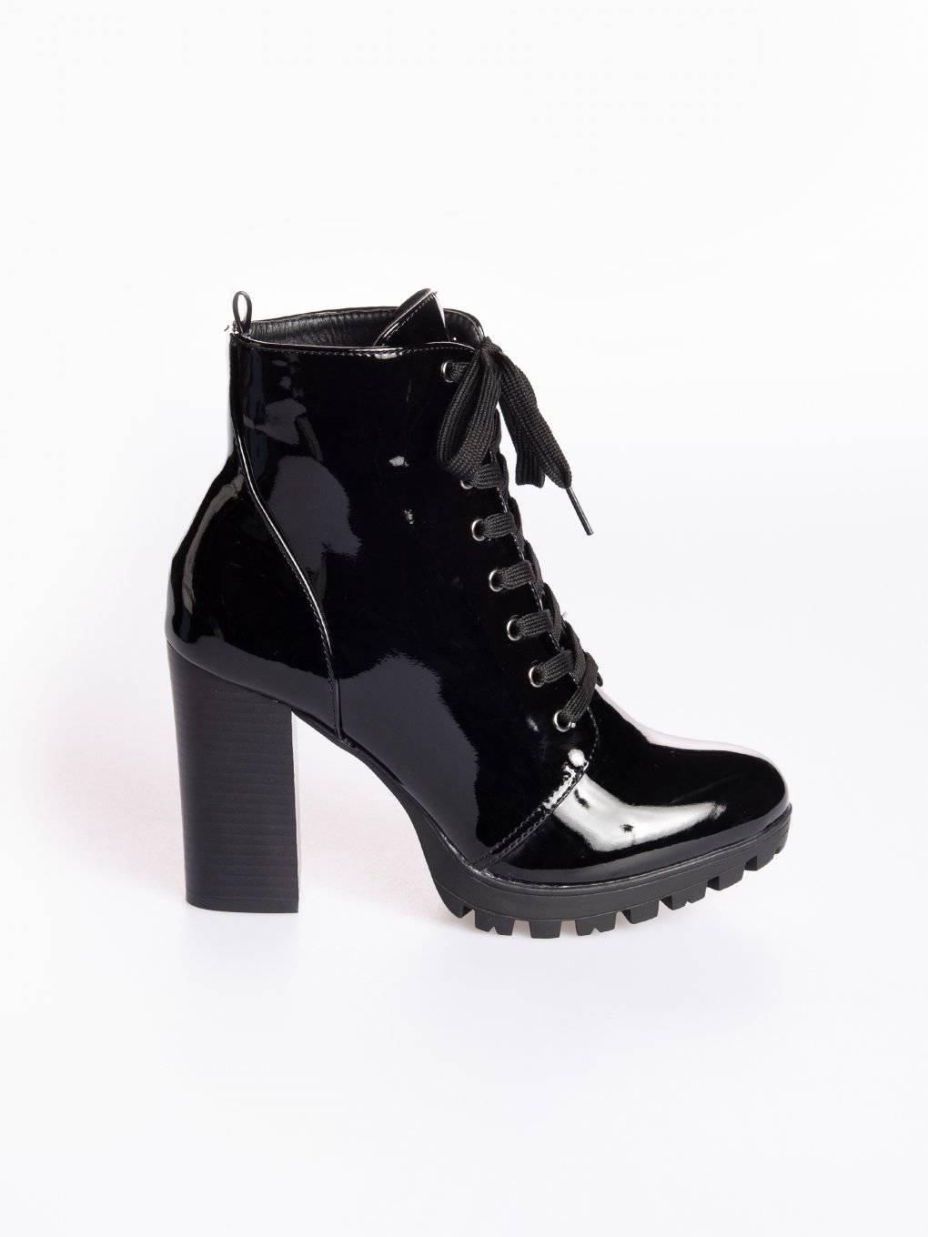 Faux leather lace-up high heeled track sole boots