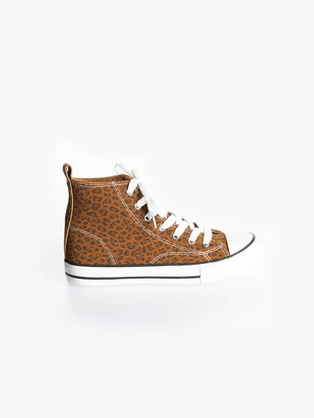 Animal print high top sneakers
