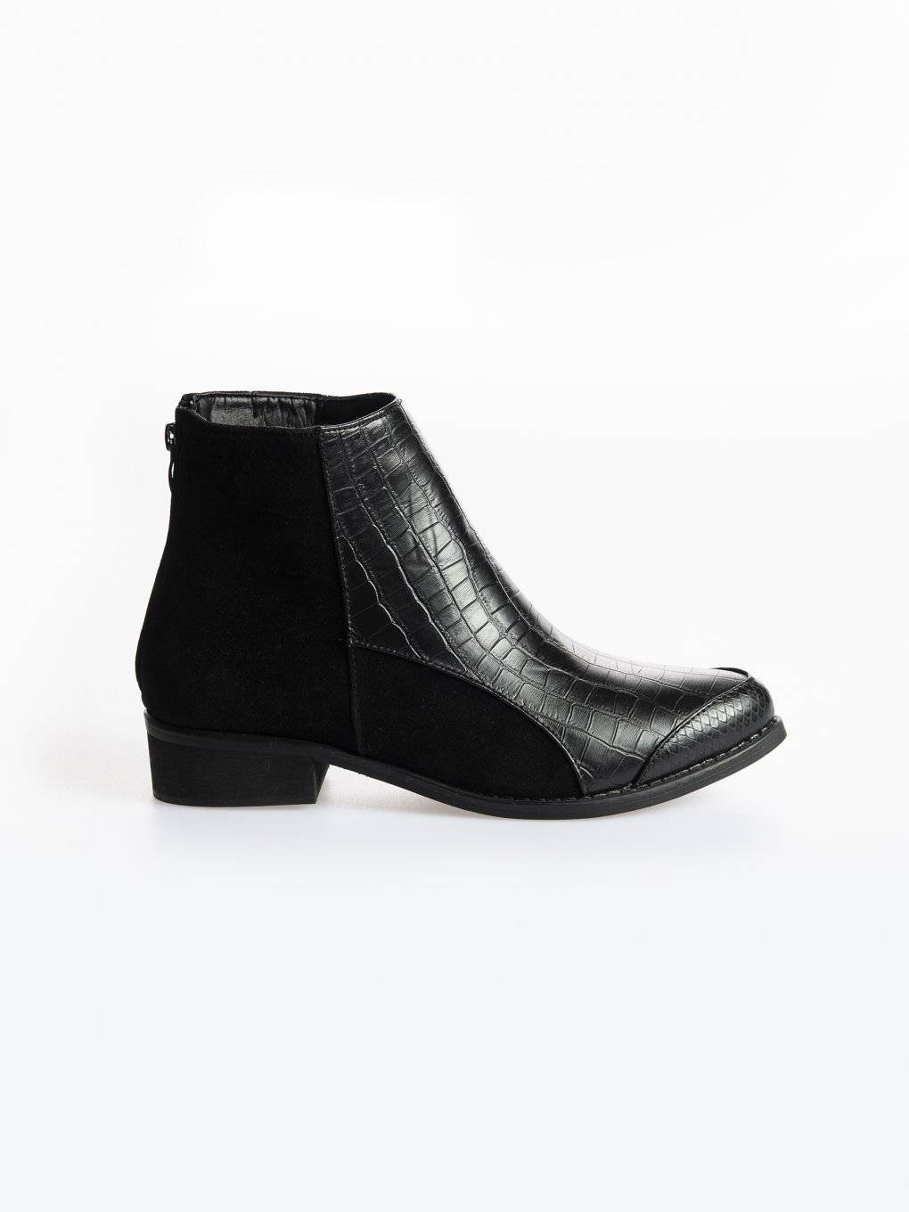 Faux leather ankle boots with crocodile and snake skin detail