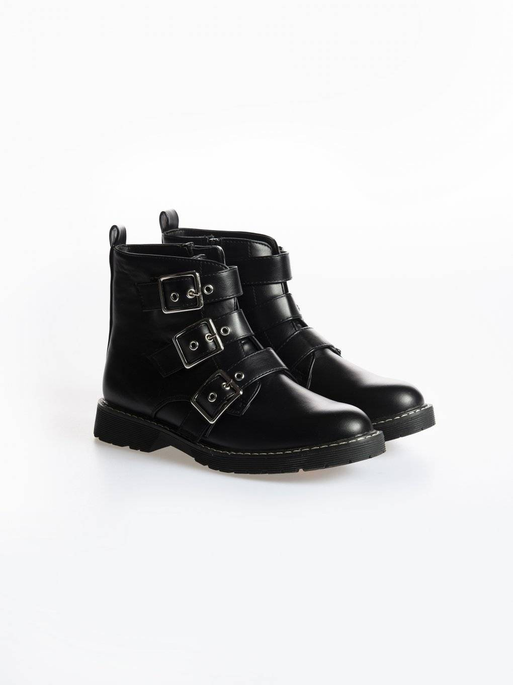 Faux leather ankle biker boots