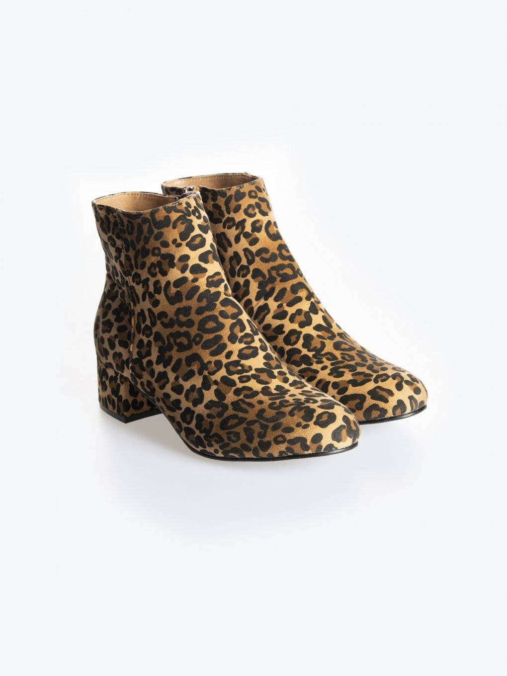 Animal print mid heel ankle boots