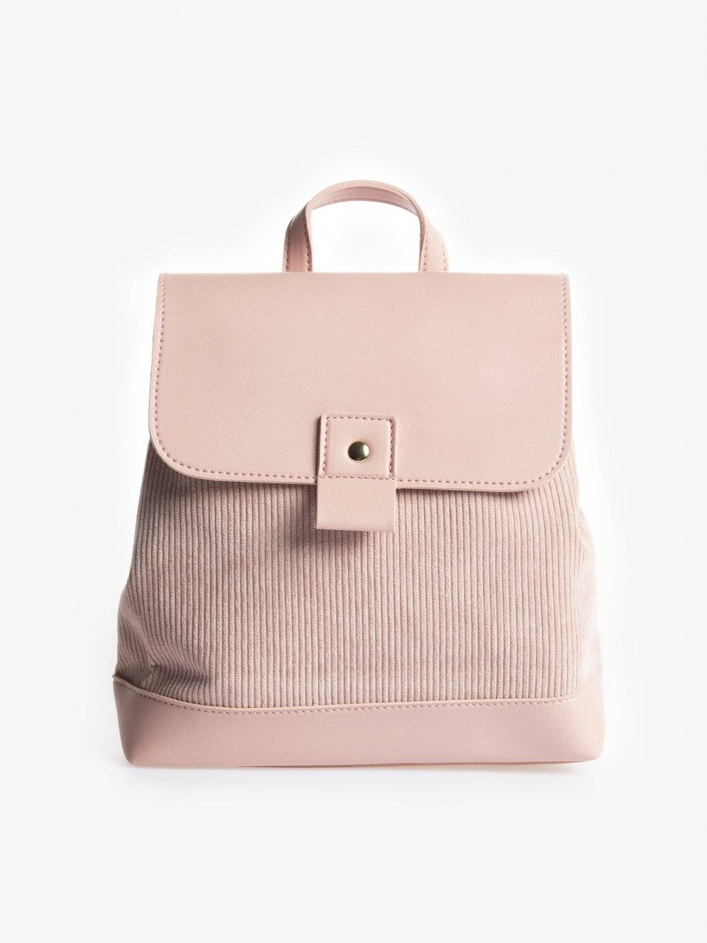 Faux leather backpack with corduroy detail