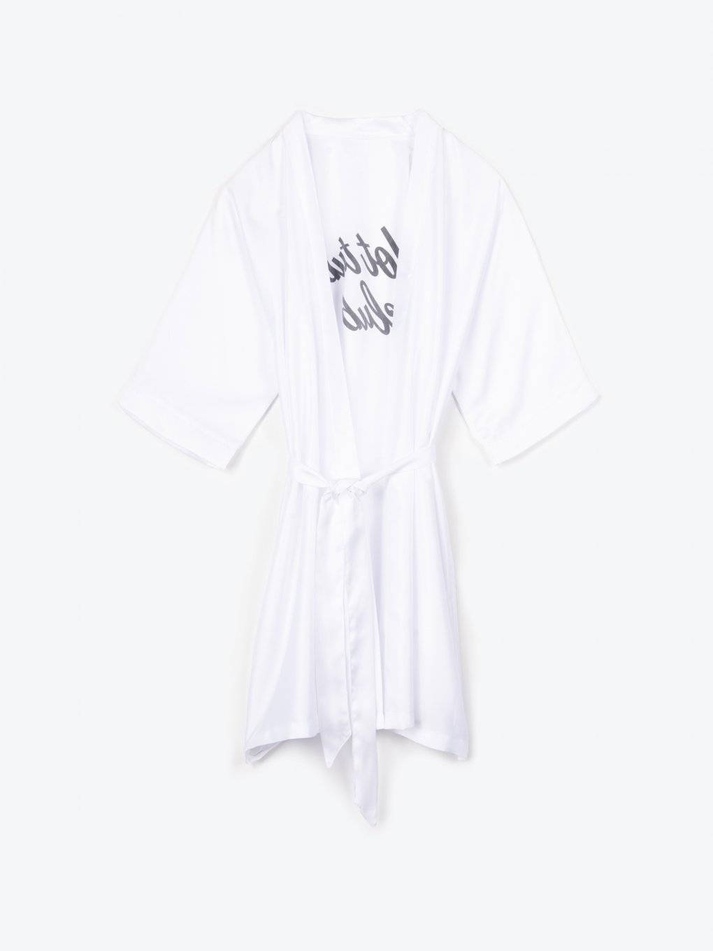Satin dressing gown with message print at back