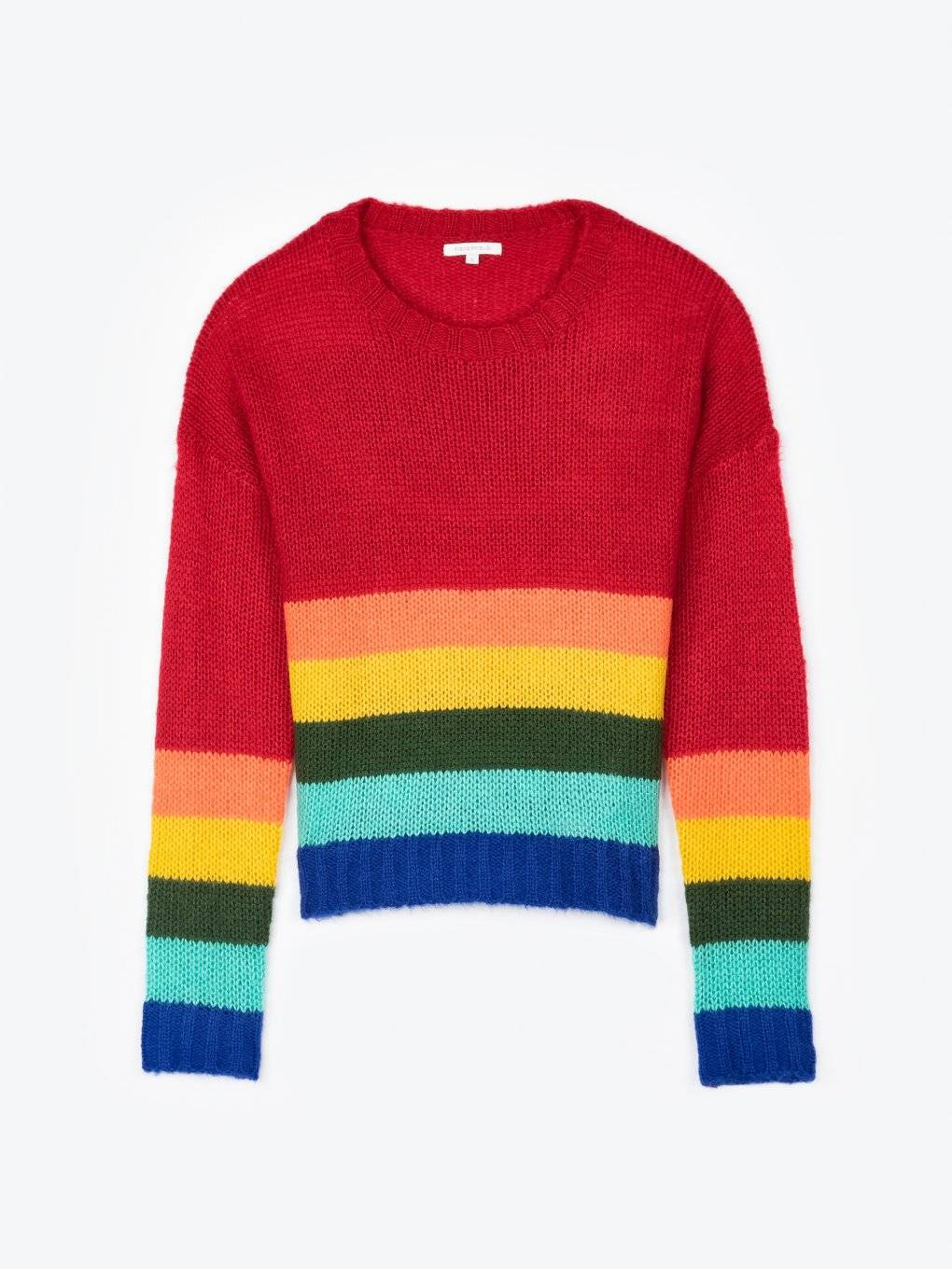 Rainbow striped pullover