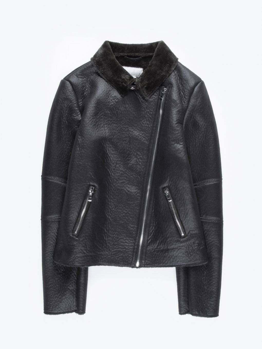 Pile lined faux leather biker jacket