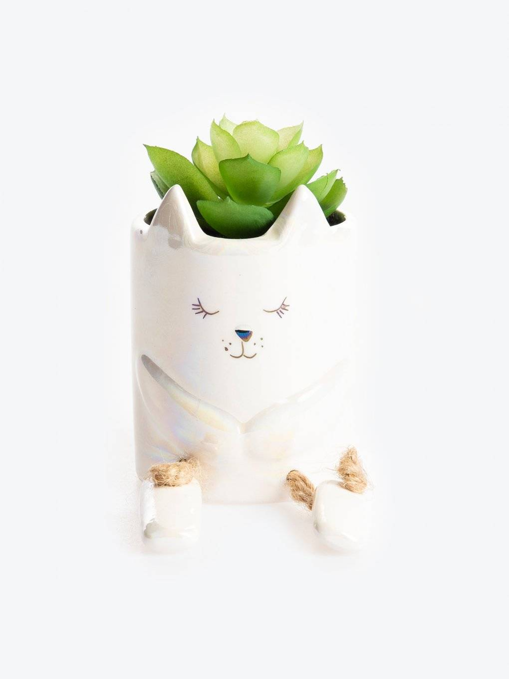 Ceramic kitty flower pot with flower decoration