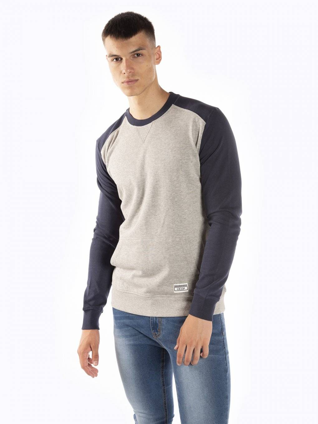 Sweatshirt with kangaroo pocket and contrast sleeves
