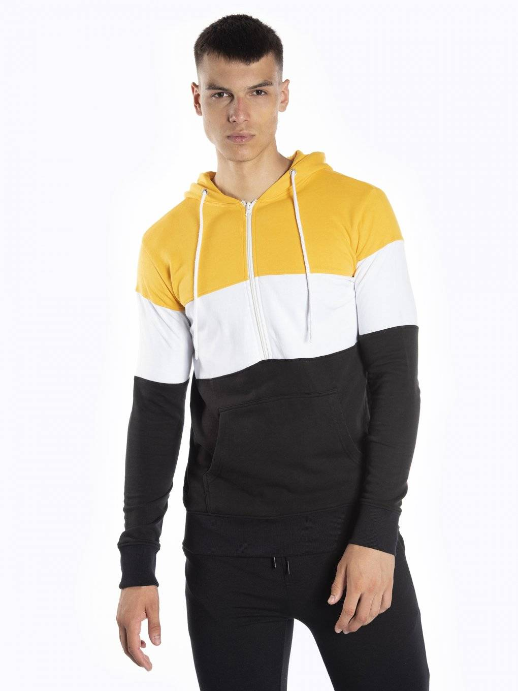 Paneled hoodie with half zipper