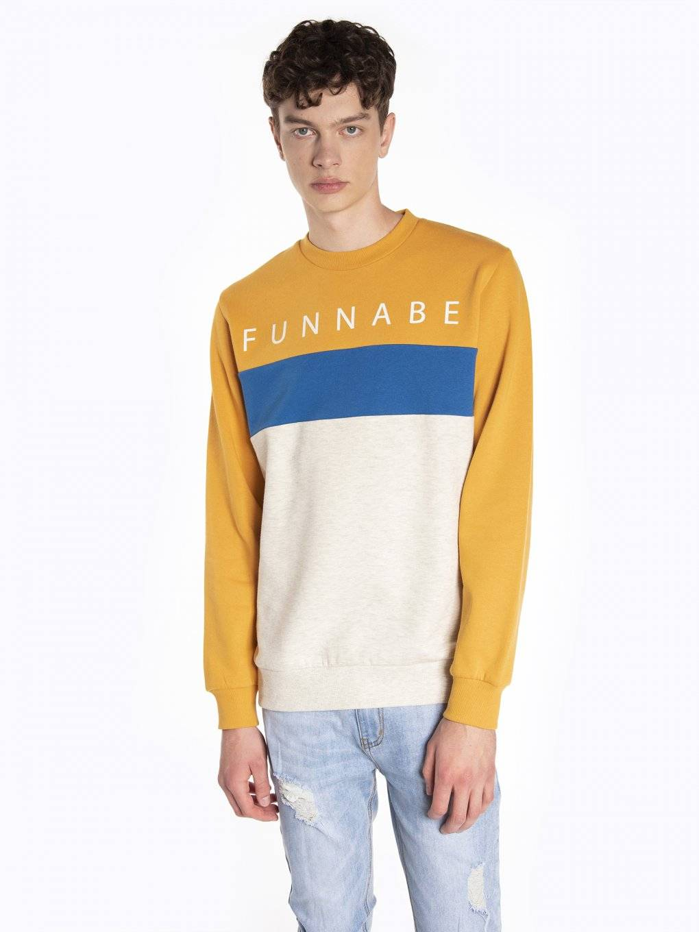 Color block sweatshirt with print
