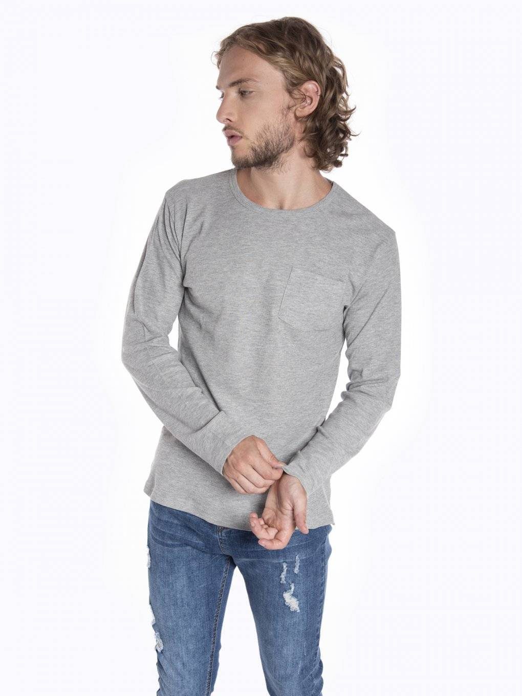 Waffle-knit long sleeve t-shirt with chest pocket
