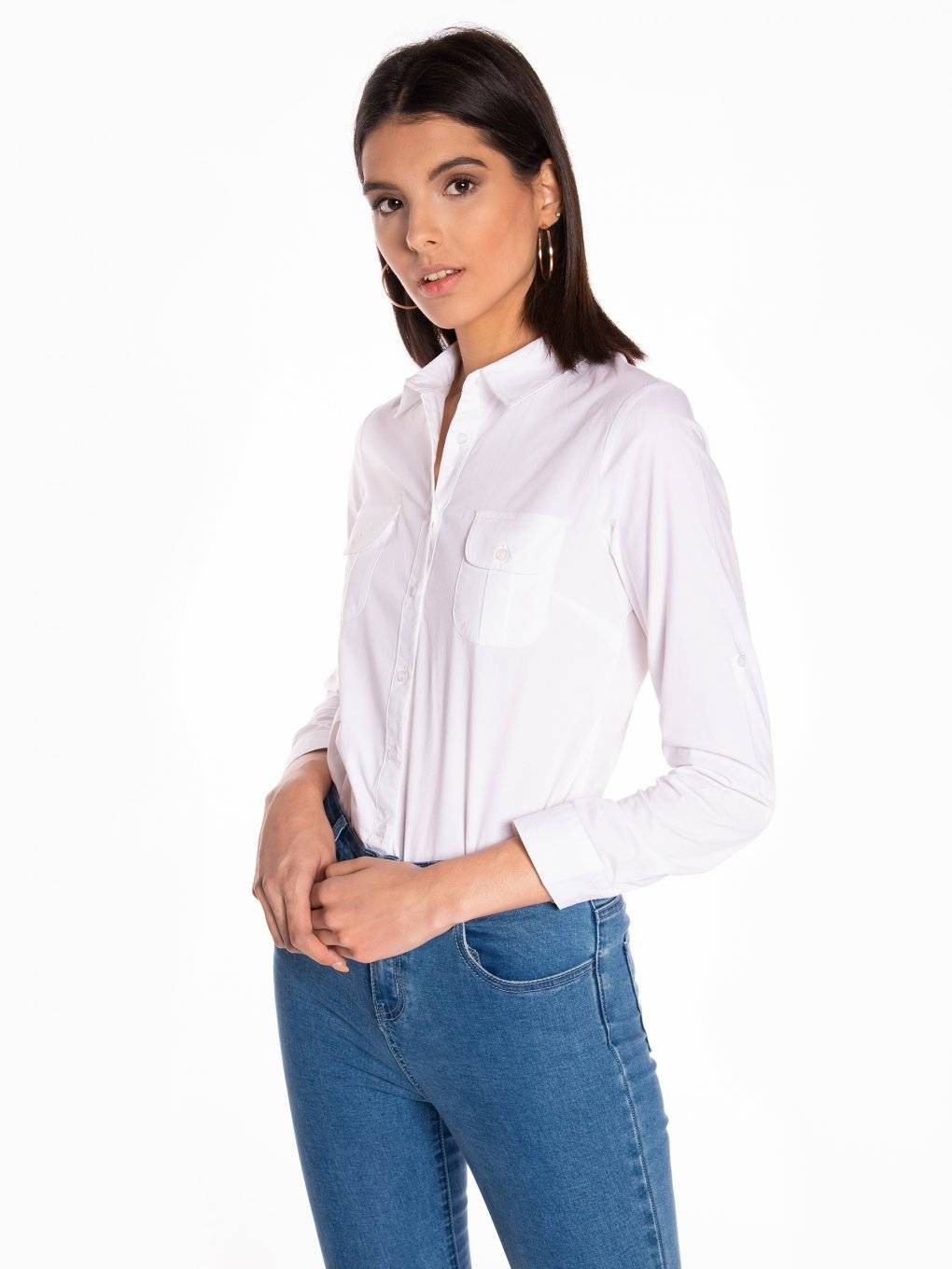 Stretchy cotton slim fit shirt with chest pockets