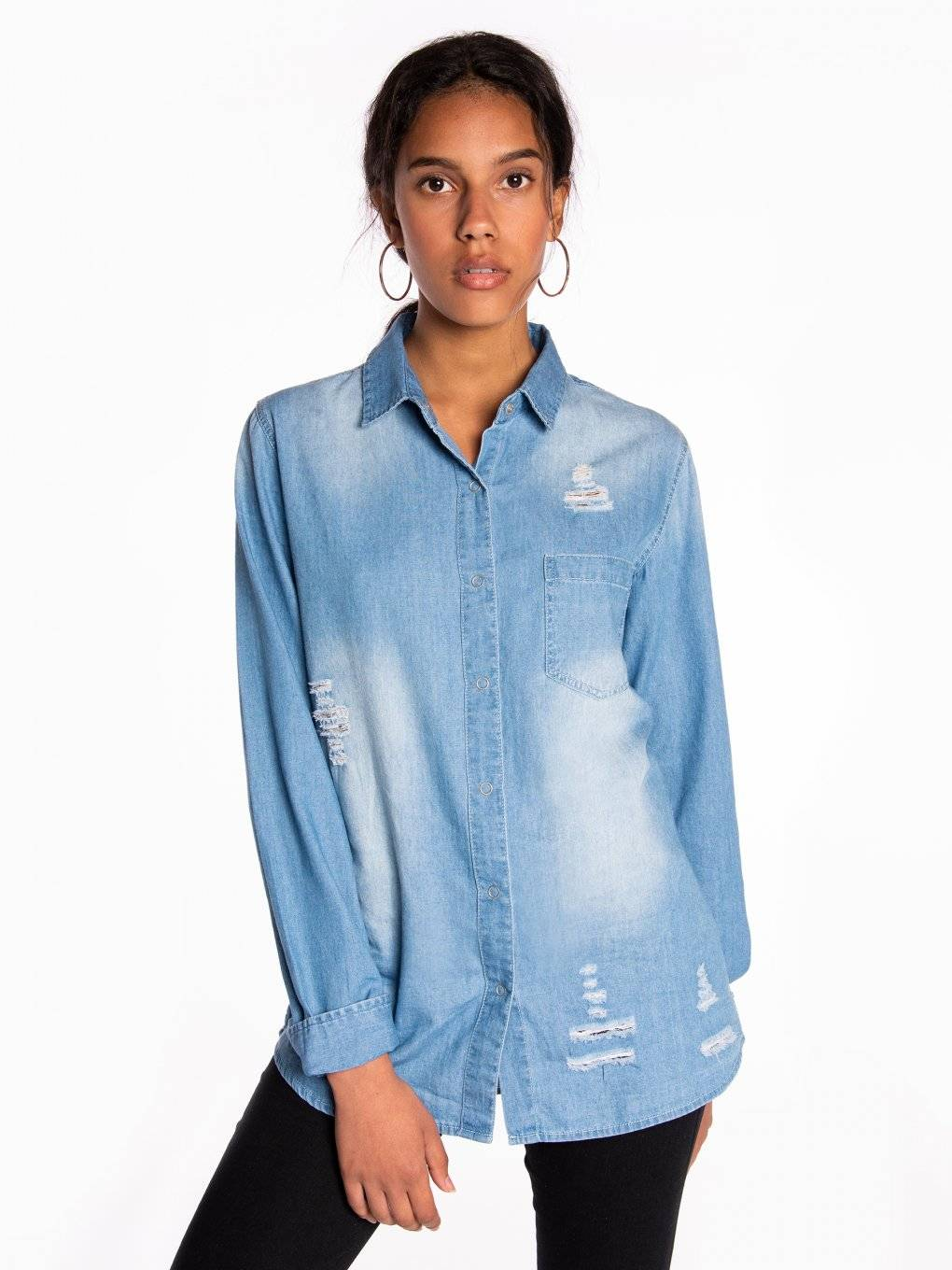 Denim shirt with damages