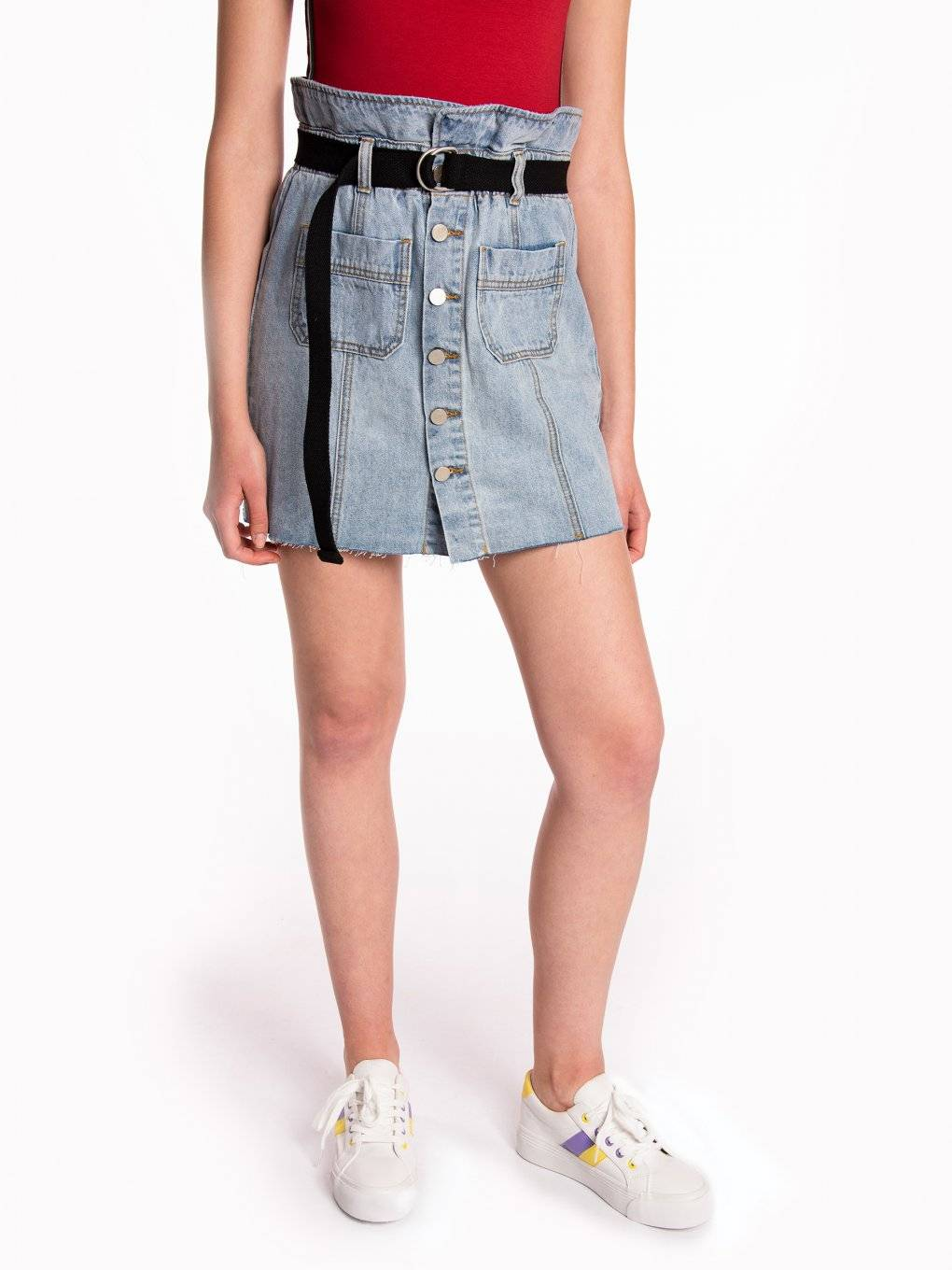 High waisted denim button down skirt with belt
