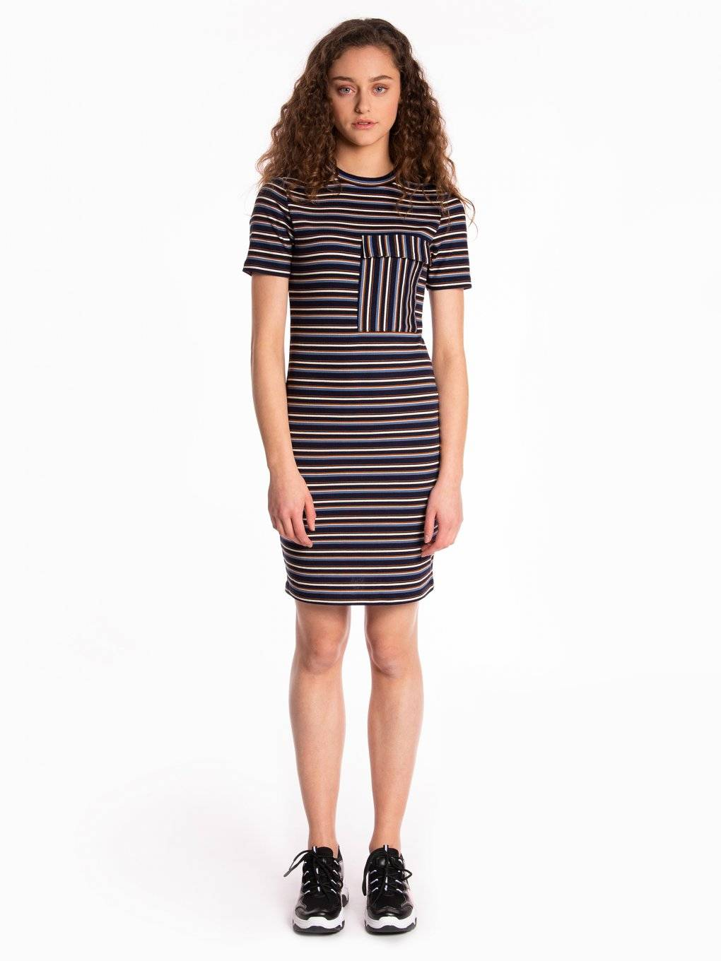 Striped bodycon dress with oversized chest pocket
