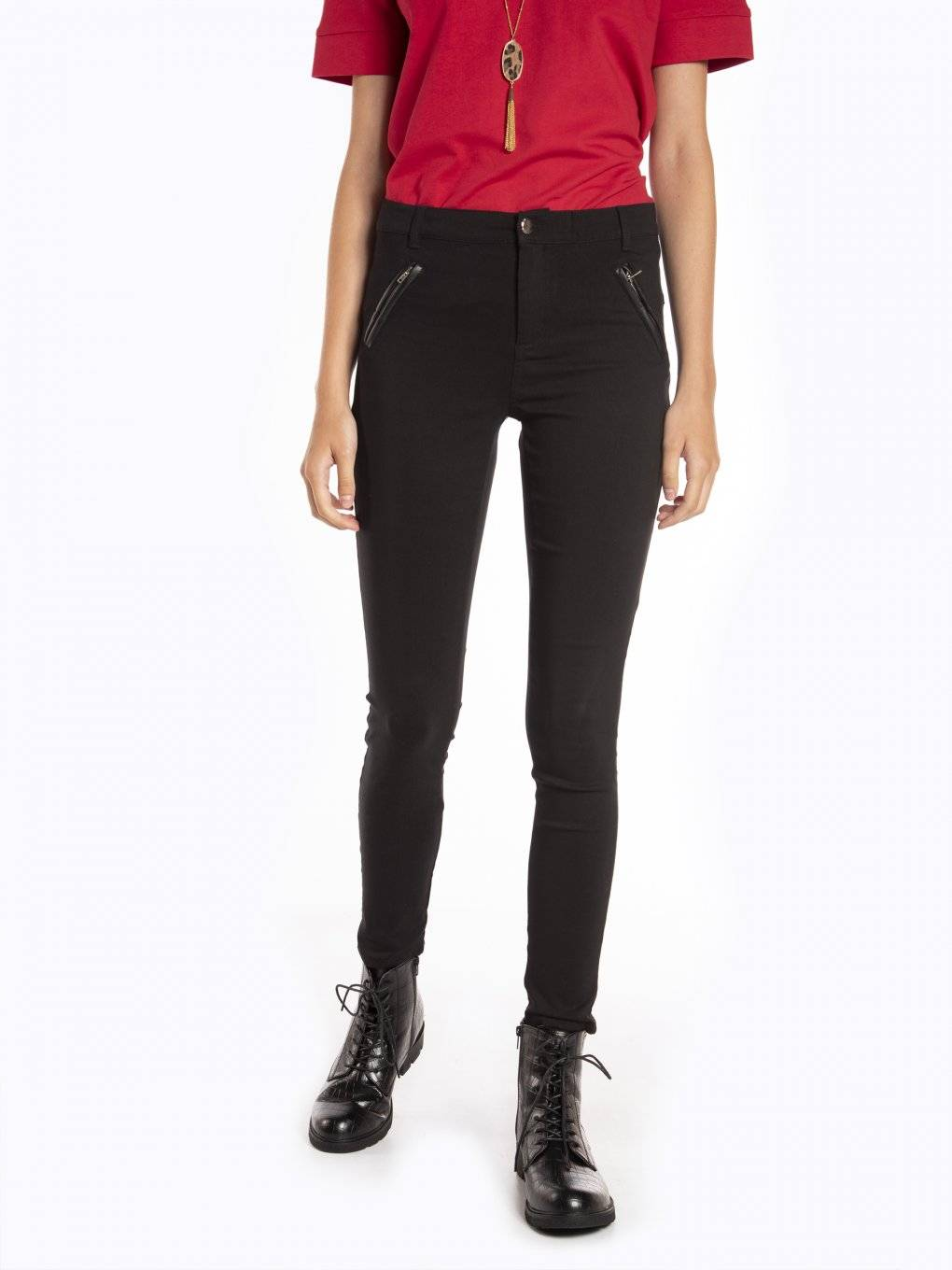 Stretchy skinny trousers with zippers