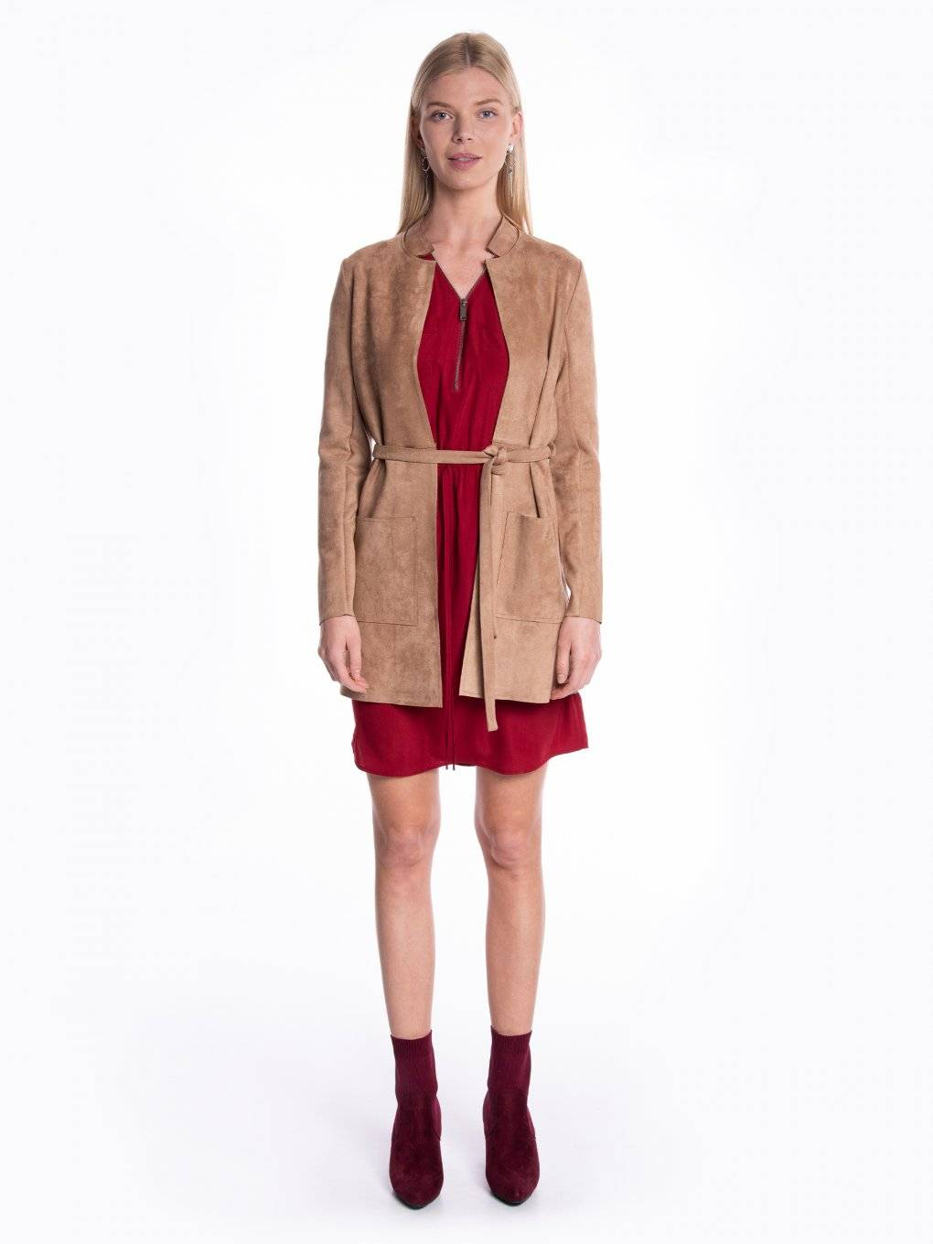 Faux suede blazer with belt