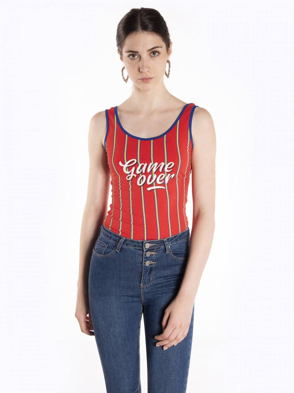 Striped varsity bodysuit