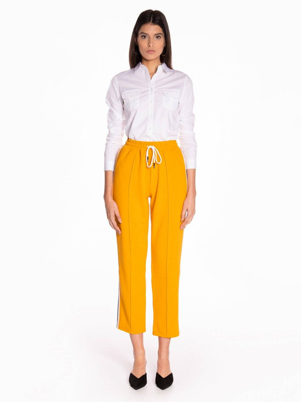 Taped wide leg trousers