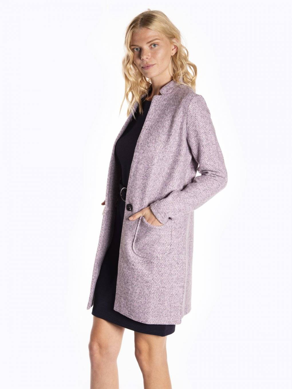 Longline marled single button blazer