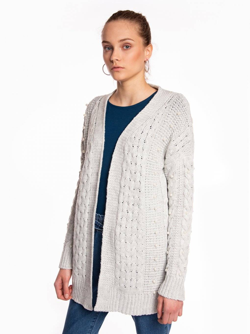 Longline cable-knit cardigan with pearls