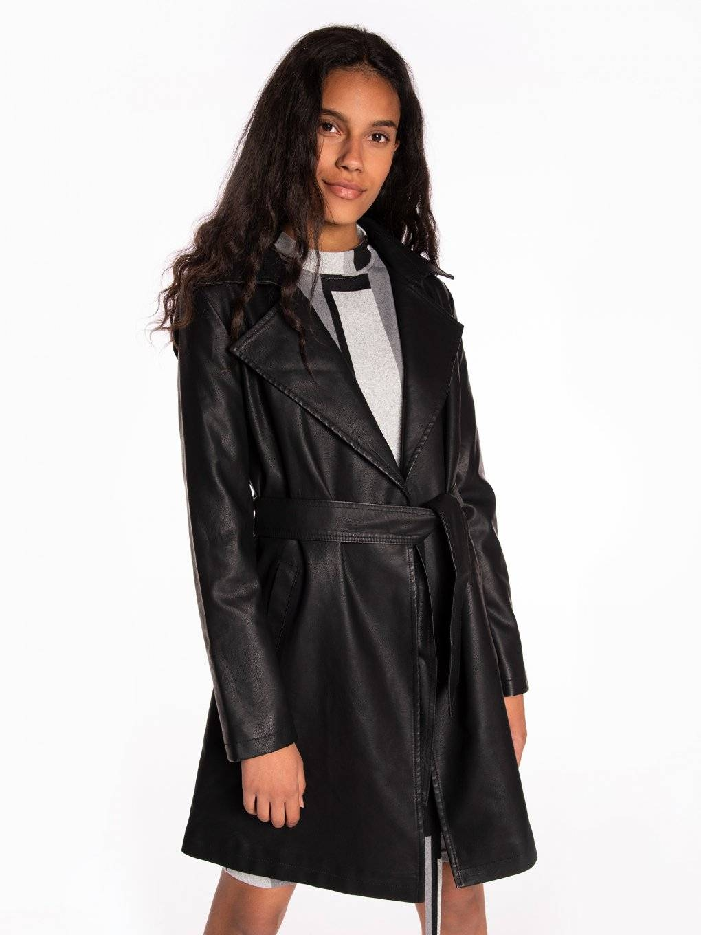 Longline belted faux leather coat
