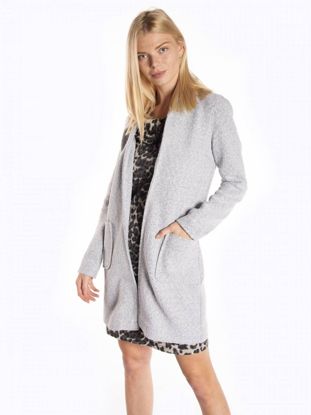 Longline marled blazer with pockets
